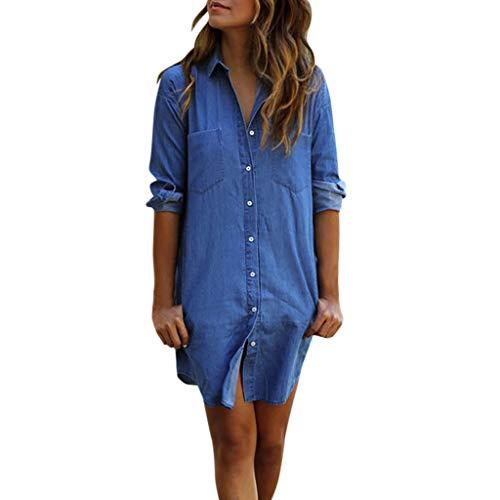 (Onefa Women's Basic Classic Long/Roll Up Sleeve Button Down Chambray Denim Shirt Tops)
