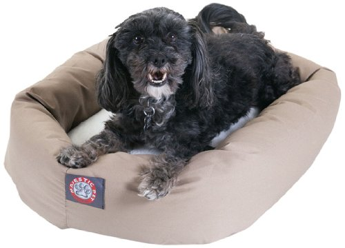 Khaki 24-Inch Khaki 24-Inch Majestic Pet 24-Inch Bagel Bed for Pets, Khaki and Sherpa