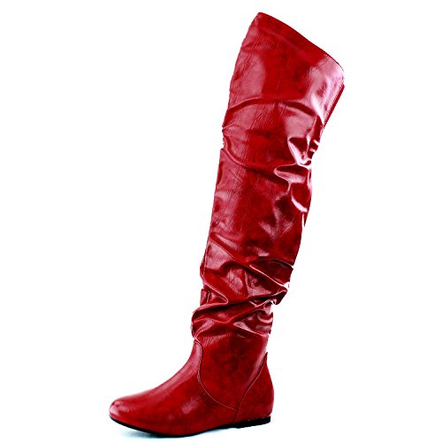 Red Leather Thigh High Boots (DailyShoes Women's Fashion-Hi Over the Knee Thigh High Boots, Red PU, 13 2A(N) US)