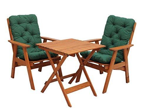 GARDENho.me 5tlg. Balkonset Varberg Braun verstellbarer Hochlehner Stuhl inkl. grüne Kissen und Klapptisch 65x65 cm