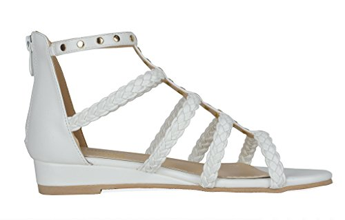 DREAM Wedges Sandals Womens PAIRS Ankle 6 Strap Pu 6 white Low Formosa Platform 1nR1qYrw