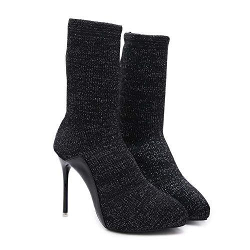 Botas Elásticas Mujeres Calcetines Botin Puntiagudo Punta De Aguja Botas De Vestir OL Casual Corte Zapatos UE Tamaño 34-40 Black