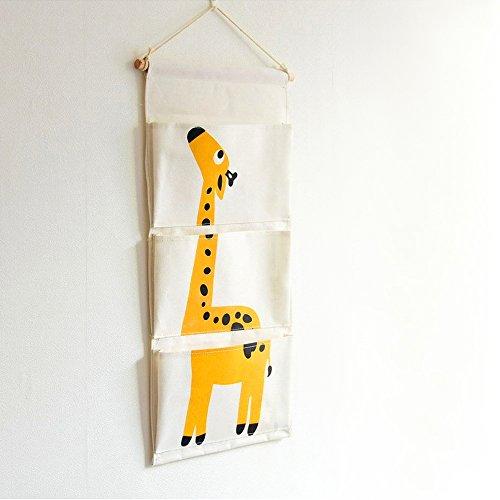 Giraffe Wall Hanging (Habudda Kids room Cartoon Wall Hanging Organizer Cotten Canvas Linen Storage Bag Giraffe (YELLOW))