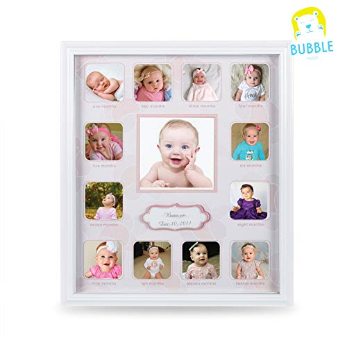 "for Baby First Year Keepsake - Multi Picture Frames with Twelve 1.8"" and One 3.7"" Slots for Baby Present Memory Home Decoration - Pink White Made of Prime Wood Panel and Glass ()"