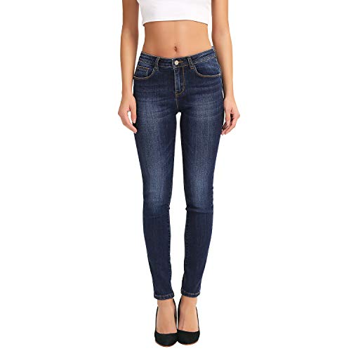 (HOCAIES Women's Juniors Timeless Mid-Rise Stretchy Skinny Jeans (03 Dark Blue,)