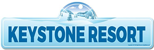 Keystone Resort Street Sign   Indoor/Outdoor   Skiing, Skier, Snowboarder, Décor for Ski Lodge, Cabin, Mountian House   SignMission Personalized -