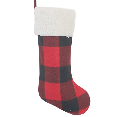 (Gireshome red Buffalo Check Plaid with Sherpa Cuff Decoration Christmas Stocking Xmas Tree Decor Festival Party Ornament)