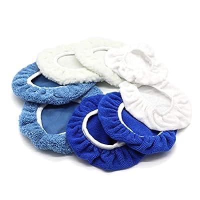 AUTDER 5 Inch & 6 Inch Car Polisher Pad Bonnet, Waxers Bonnet Set, Woollen+Cotton+Microfiber+Coral Fleece, 2 Pcs for Each, Pack of 8 Pcs: Automotive