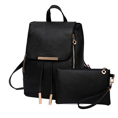 2Pcs Women Girls Leather Drawstring Travel School Backpack Clutch Bag (Black) by Napoo-Bag