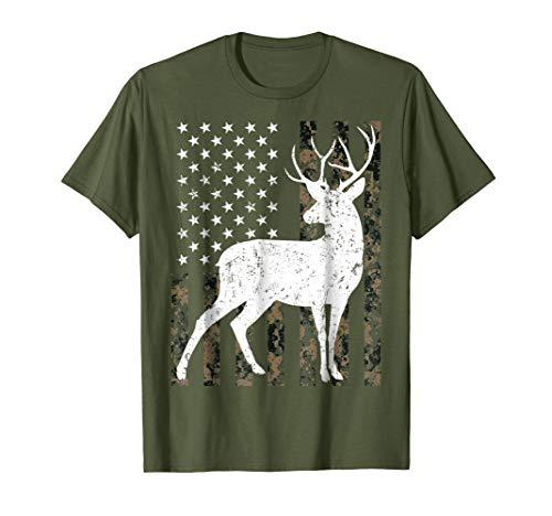 Deer hunting Tshirt Camouflage USA Flag Gift for Hunter