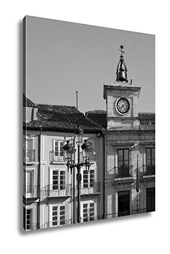 Ashley Canvas Town Hall Clock In Plaza Mayor Mayor Square Of Burgos Spain, Wall Art Home Decor, Ready to Hang, Black/White, 20x16, AG5527765 by Ashley Canvas