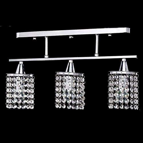Cheap Lightess Chandelier Lighting Crystal Cylinder Pendant Light Modern Hanging Ceiling Lights Flush Mount Fixture with 3 Heads