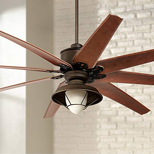 """72"""" Predator Outdoor Ceiling Fan with Light LED Remote Control English Bronze Cherry Blades Hooded Caged Frosted Glass Damp Rated for Patio Porch - Casa Vieja Lamps Plus"""