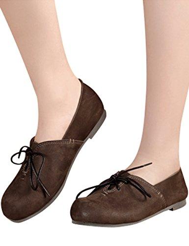 Zoulee Kvinna Rund Tå Nya Läder Snörning Platta Skor Stil 6 Kaffe