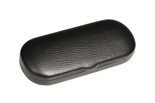 Hard Metal Bodied Eyeglass Case with Lip for Medium Frames in Black