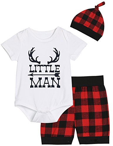 Baby Boys Girls Cute Deer Little Man Short Sleeve Plaid Clothes Outfit Set (White02, 0-3 -
