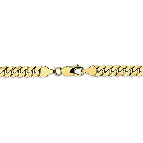 6.1 mm 10k Yellow Gold Flat Beveled Curb Chain Necklace - 22 Inch