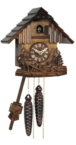 German Mechanical Cuckoo Clock with Hand Carved Horses, 8.5 Inch