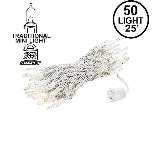 Novelty Lights 50 Light Clear Christmas Mini Light Set, White Wire, 25' ()