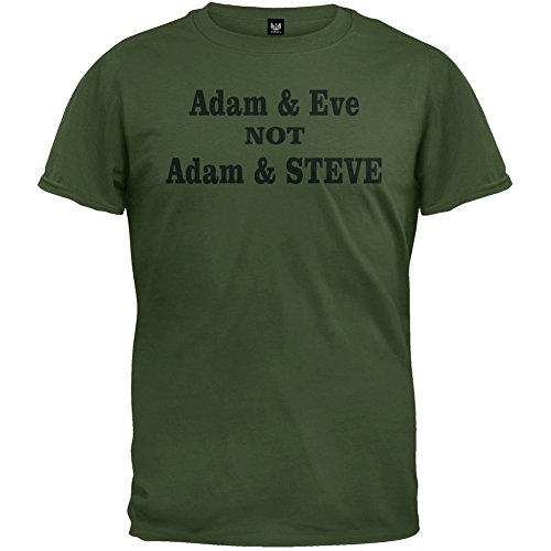 Adam Eve Shirts - Old Glory - Mens Adam And Eve Not Adam And Steve T-shirt Large Olive