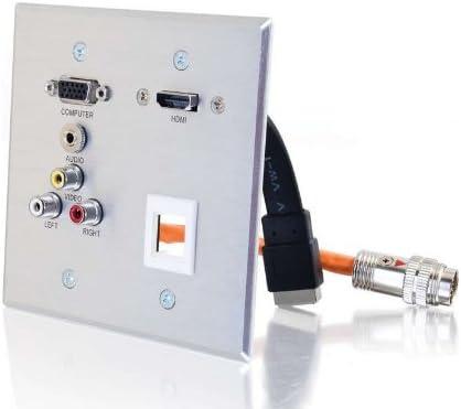Aluminum 3.5mm Keystone Composite Video C2G 60116 RapidRun Double Gang VGA HDMI Pass Through Wall Plate Stereo Audio