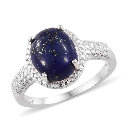 (925 Sterling Silver Oval Lapis Lazuli Solitaire Engagement Ring for Women Jewelry Gift Size)