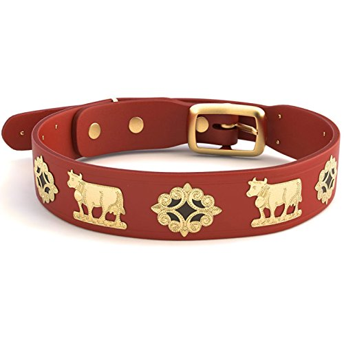 Alpen Schatz Swiss RD-MED-RB23 Original Brass Contemporary Dog Collar, 23'', Medium, Red by Alpen Schatz Swiss