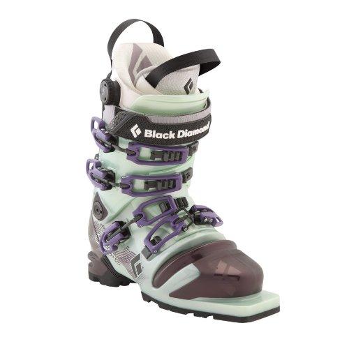Black Diamond Stiletto Telemark Women's Ski Boots, Size 25.5, Mist Green/Potent Purple