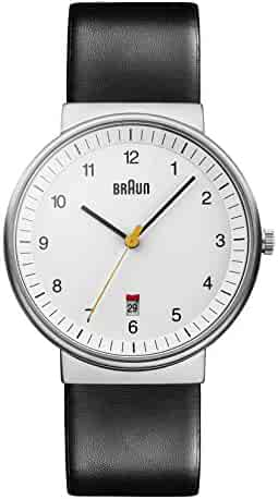 Braun Men's BN0032WHBKG Classic Analog Watch w. White Display and Black Band