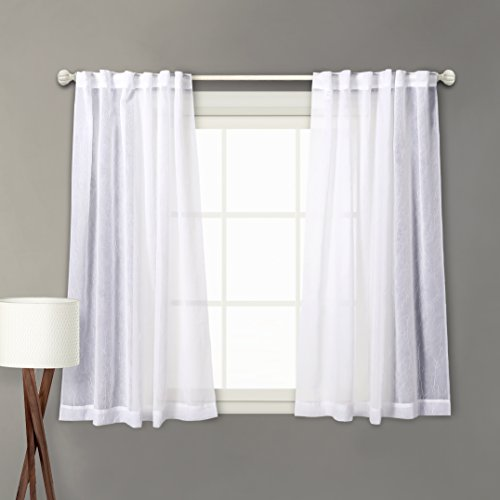 Charmant MYSKY HOME Back Tab And Rod Pocket Window Crushed Sheer Curtains For  Bedroom, White, 51 X 63 Inch, Set Of 2 Crinkle Sheer Curtain Panels