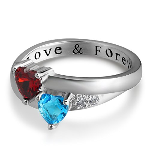 Personalized Love Forever Engagement Heart Rings Couples Sumilated Birthstones Promise Rings for Her