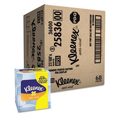 KLEENEX Anti-Viral Facial Tissue, 3-Ply, 68 Sheets/Box, 27 Boxes/Carton, Sold as 1 Carton