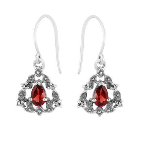 Sterling Silver 0.4ct Mozambique Garnet Victorian Style Drop Earrings -