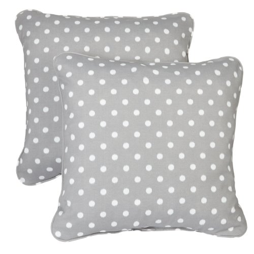 Mozaic Company Indoor Outdoor 20-inch Corded Pillow, Grey Dots, Set of 2