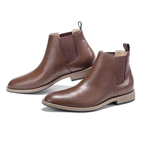 GM GOLAIMAN Men's Chelsea Boots Slip On - Dress Boot Fashion Work Office Prom Wedding Gifts Botas Invierno Hombre(1 Brown-8.5 D (M) US)