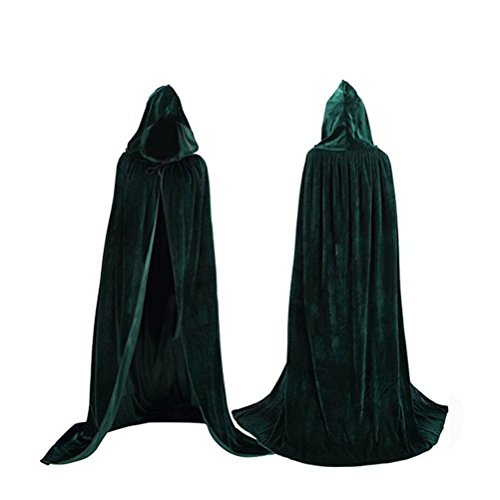 Womens Velvet Hooded Cloak Halloween Costumes Hooded Party Cape Medieval Cosplay Long Cape(Dark (Queen Cape Costume)