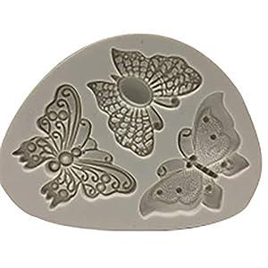 Hosaire - Stampo in silicone per torte e biscotti, per cioccolato, fondente, 3D, a forma di pizzo, farfalla, creativo… 10 spesavip