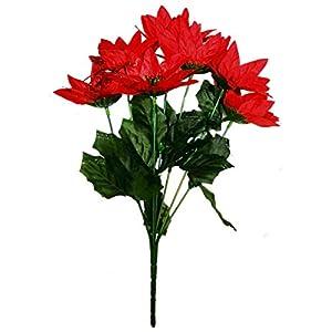 MM TJ Products Artificial Poinsettia Bouquet; 7 Stems W/Glitter (1) 2