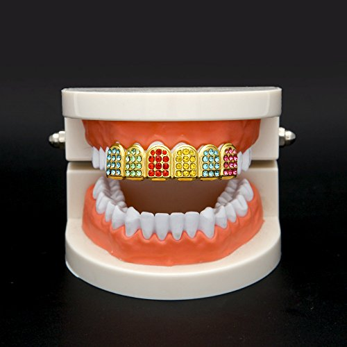 MCSAYS Micro Pave Teeth Grillz Iced-out Teeth Top Upper Hip Hop Colorful Rhinestones 6 Teeth Grillz by MCSAYS (Image #4)