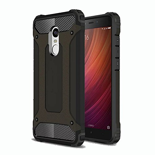 Armor Metal Hybrid (Redmi Note 4 Case, Ranyi [Hybrid Protection] [Metal Texture] [Shock-proof] High Impact Premium Dual Layer Rugged Armor Defender Case Cover for Xiaomi Redmi Note 4 (5.5 inch), black)