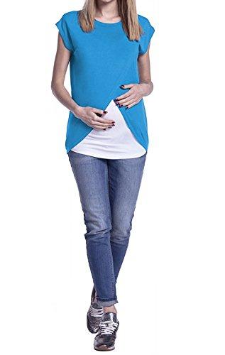 Tops Patchwork Estivo Rotondo Donna Multifunzione Allattamento ulein Casual Camicie Manica Collo Fr Corta Moda Maglietta Fox Blu Bluse Premaman Tumblr EqXw6