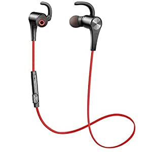 SoundPEATS Bluetooth Earbuds Wireless 4.1 Magnetic Headphones Stereo Earphones with Mic, Secure Fit for Sports - Red
