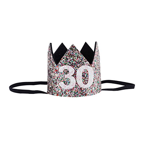 Floral Fall 20th 21st 30th Birthday Crown Golden Adult Thirty Flirty Party Hat Black