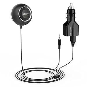 AUKEY Receptor Bluetooth Audio portable con Altavoz, Cargador de Coche 2 Puertos de USB, Audio Estéreo reproductor Bluetooth para coche, iphone, Samsung, etc. SmartPhone Media Players Adaptor Audio Bluetooth Receiver ( BR-C3 Negro )