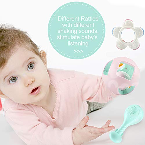 EFOSHM 10PCS Baby Rattles Teether Set, Grasping Grab Toy, Spin Shaking Bell, Sensory Teether Rattle, Boiled Disinfection BPA Set for Infant Newborn Baby Toddler by EFOSHM (Image #4)