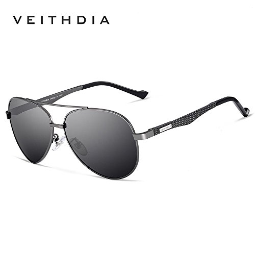 10297d669f VEITHDIA 3850 Metal Frame Polarized Aviator Sunglasses 100% UV Protection  (Gun Frame Grey