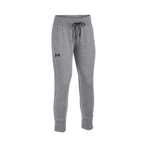 (Under Armour Girls' French Terry Ankle Crop, Black Medium Heather /Black, Youth Large )