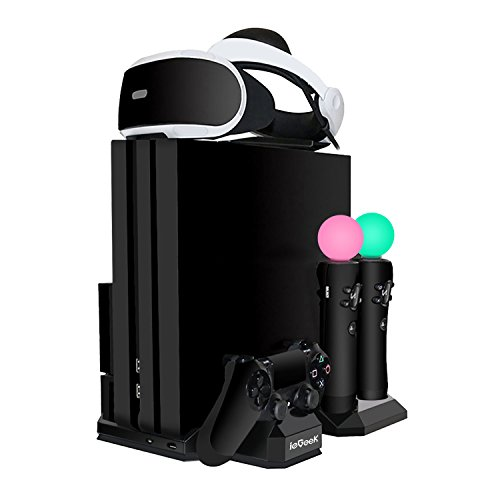 Upgraded ieGeek PSVR Charging Stand Display, PlayStation PS VR Storage Headset Holder, 2 PS Move + 1 PS4 Controller Charger Docking Station, PS4 Pro / Slim / PS4 [All in 1] Vertical Stand Cooling Fan by ieGeek
