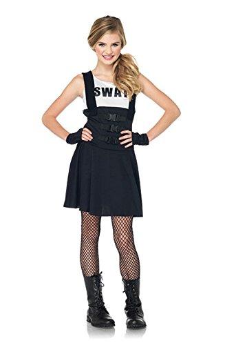 Leg Avenue Junior's 2 Piece SWAT Officer Costume, Black, Medium/Large