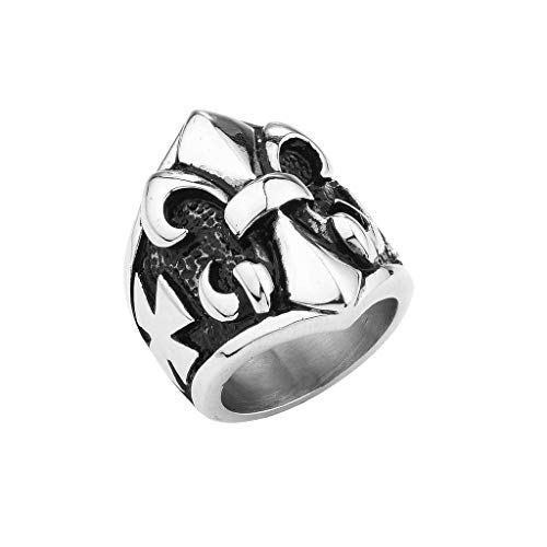 1800skull Stainless Steel Men Iron Cross Ring with Smaller Crosses on The Sides (Available in Sizes 9 to 14) Size 9